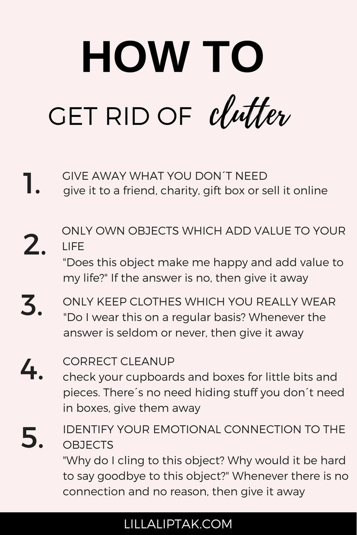 Read the 5 best decluttering tips inspired by Kon Mari to create an organized, clutter free life! via lillaliptak.com