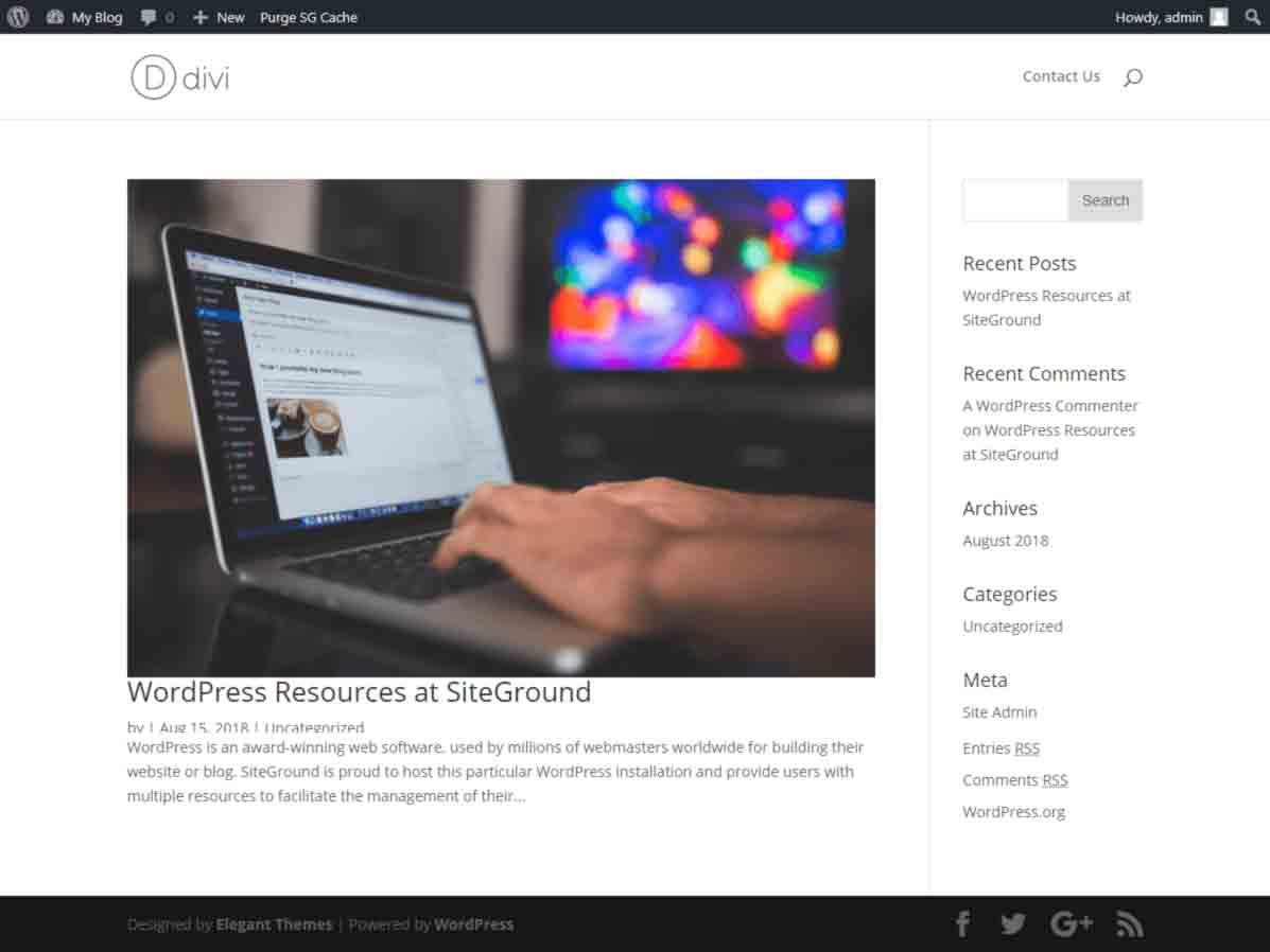 Divi installation - divi default home page
