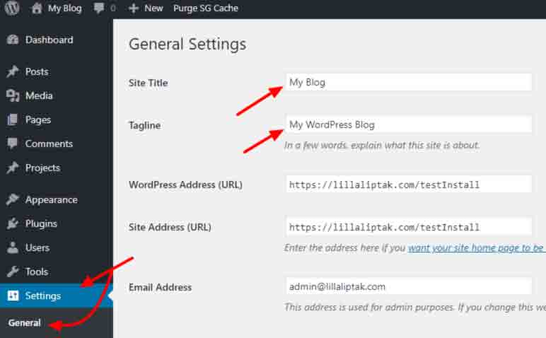 Wordpress settings - title and tagline